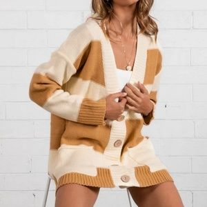 🎥 Colorblock Long V-Neck Cardigan with Pockets